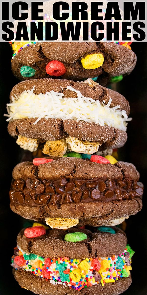 ICE CREAM SANDWICH RECIPE- Classic, homemade, diy, quick and easy, gourmet frozen dessert, made with simple ingredients.Fun to make with kids for birthday parties! Mini ice cream sandwich cookies can be made too. From CakeWhiz.com {Ad} #KelloggsCerealYourWay #icecream #cookies #dessert #recipes #dessertrecipes #chocolate @Kelloggsus @samsclub