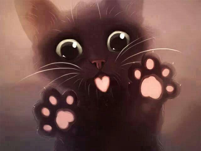 Black Cartoon Kitten Cute Animal Drawings Crazy Cats Cat Wallpaper