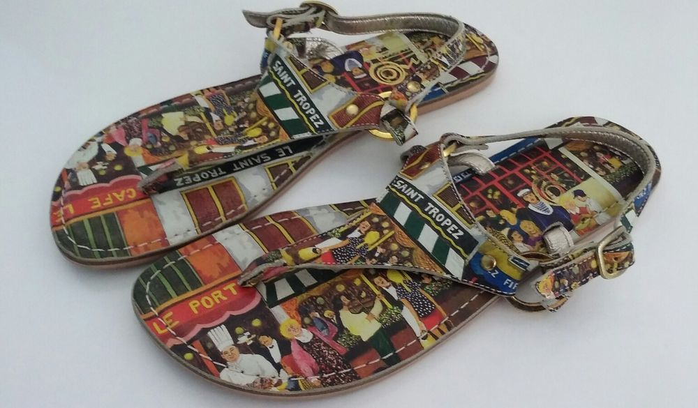 Thong Bistro Sandals Vacation Cafe Print Icon 8 Reg. $129 #Icon #TStrap #Casual