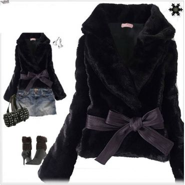 USD11.99Fashion V Neck Long Sleeve Single Breasted Regular Black Faux Fur Coat