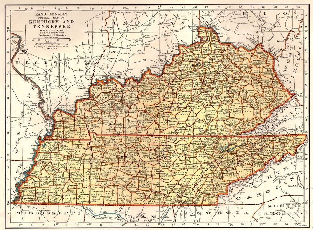 1937 Antique KENTUCKY Map TENNESSEE Map of Kentucky Gallery Wall Art ...