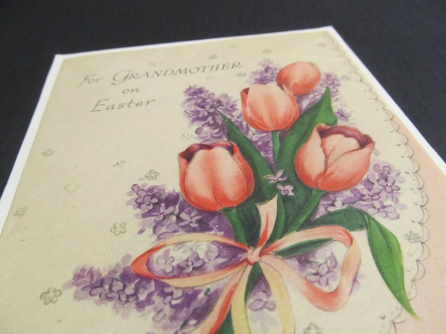For grandmothers on easter tulip flowers lavander bouquet floral for grandmothers on easter tulip flowers lavander bouquet floral cards save hallmark greeting cardsgreeting cards freevintage m4hsunfo