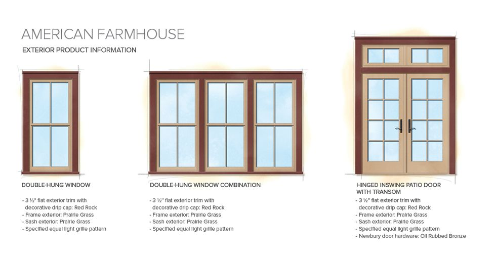 American farmhouse home style exterior window door details for Window sizes for homes