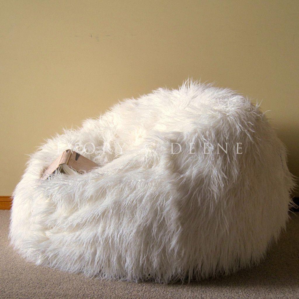 Details about Large Cream SHAGGY FUR BEAN BAG Cover Cloud
