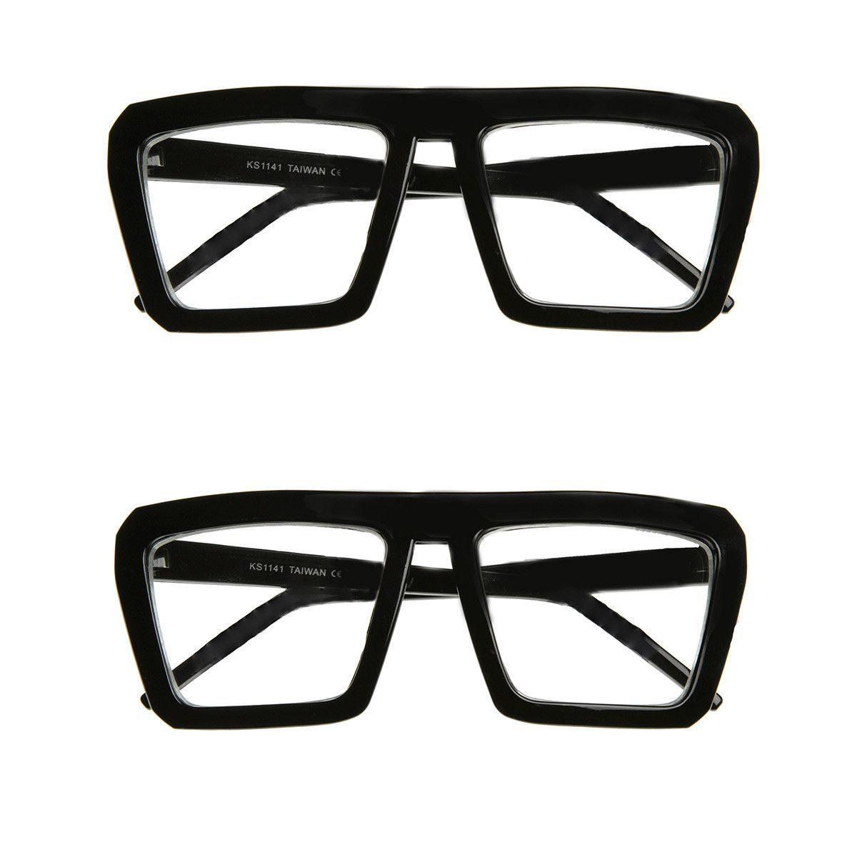 Fashion Frame Flat Top Blaster Frame Horn Rimmed Style Eyewear Clear Lens Glasses