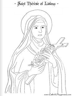 Saint therese of lisieux coloring page and lots of other