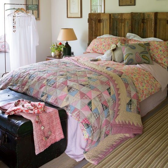 Take a patchwork quilt as your starting point, add a bold floral ... : country style bedding quilts - Adamdwight.com