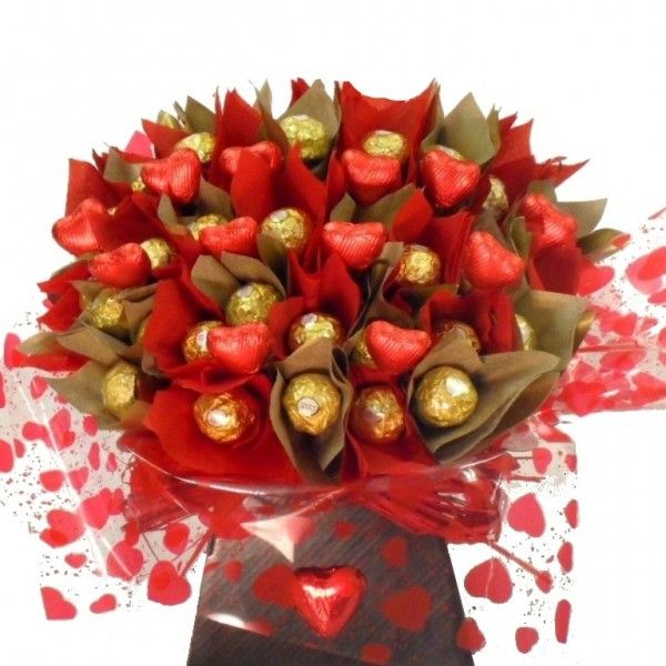 Chocolate bouquet and candy bouquets at the unique gift