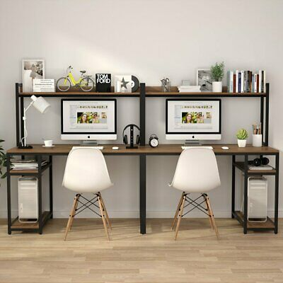 Double Person Long Computer Desk With Bookshelves Dark Walnut Study Writing Desk Affilink Desk Writingtable De In 2020 Home Desk Two Person Desk Home Office Design