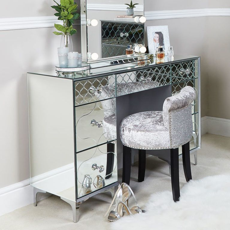 Moresque Silver Mirrored Moroccan 2 Drawer Bedside Cabinet ...