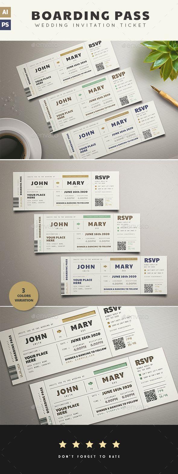Boarding Pass Wedding Invitation Wedding Invitation Card