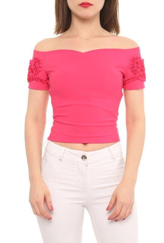 6a9ba0a1cedcf2 Sommer Designer Carmen Shirt Pink Schulterfrei