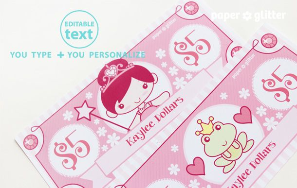 Printable Princess Play MoneyType In Your Own Text