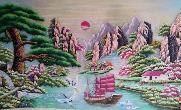 Gemstone painting - Vietnamese landscape 15 - Gemstone painting | Gemstone  art, Chinese landscape painting, Painting
