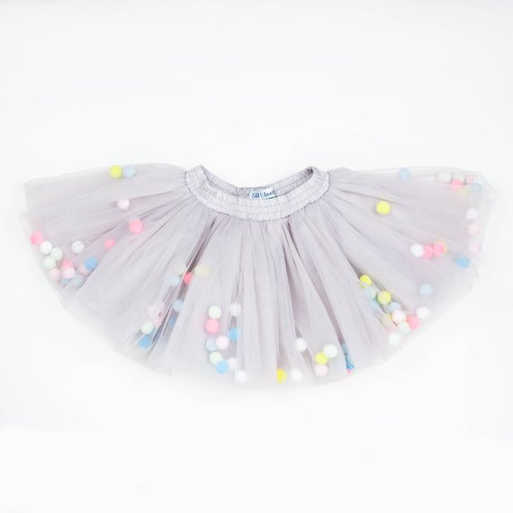 3253e93414 Gray newborn tutu with light pom poms, pastel tutu pom pom, blue tutu skirt  girls, pastel blue tulle