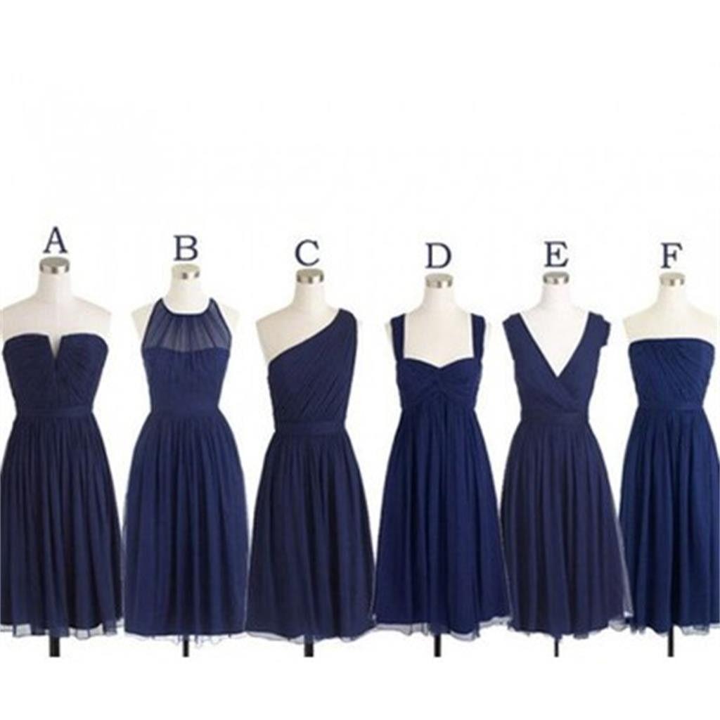 Navy short popular cheap chiffon long Custom Bridesmaid Dress ...