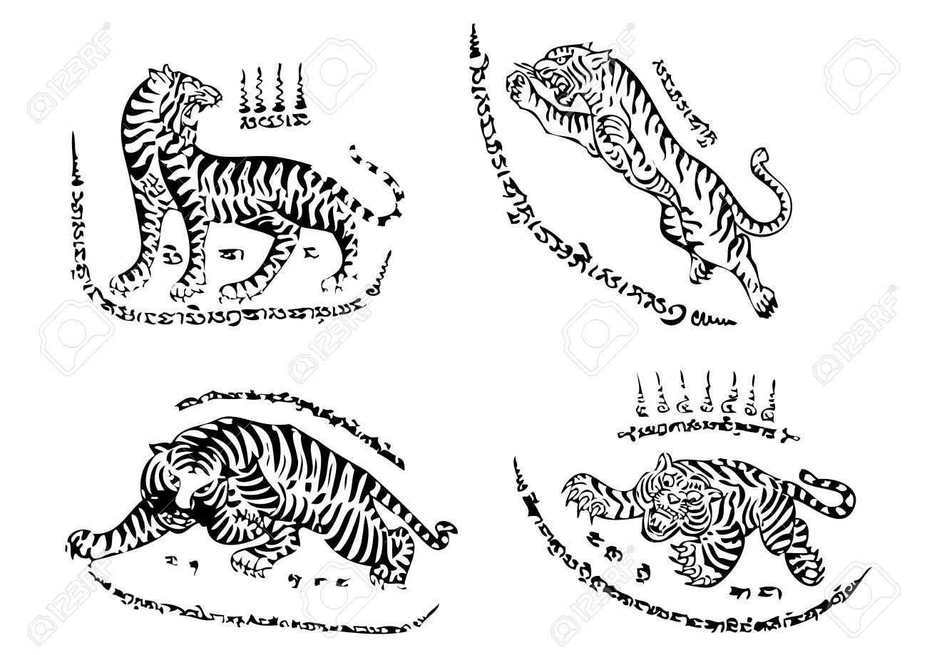 db70a74c5 Tiger Traditional Thai Art Tattoo Ancient Royalty Free Cliparts, Vectors,  And Stock Illustration. Pic 12498356.