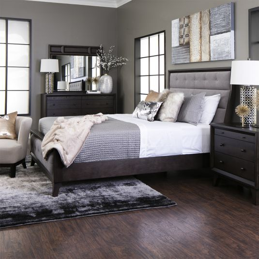 Gray Tufted Bedroom Set Queen Size Panel Bed Jerome S Home