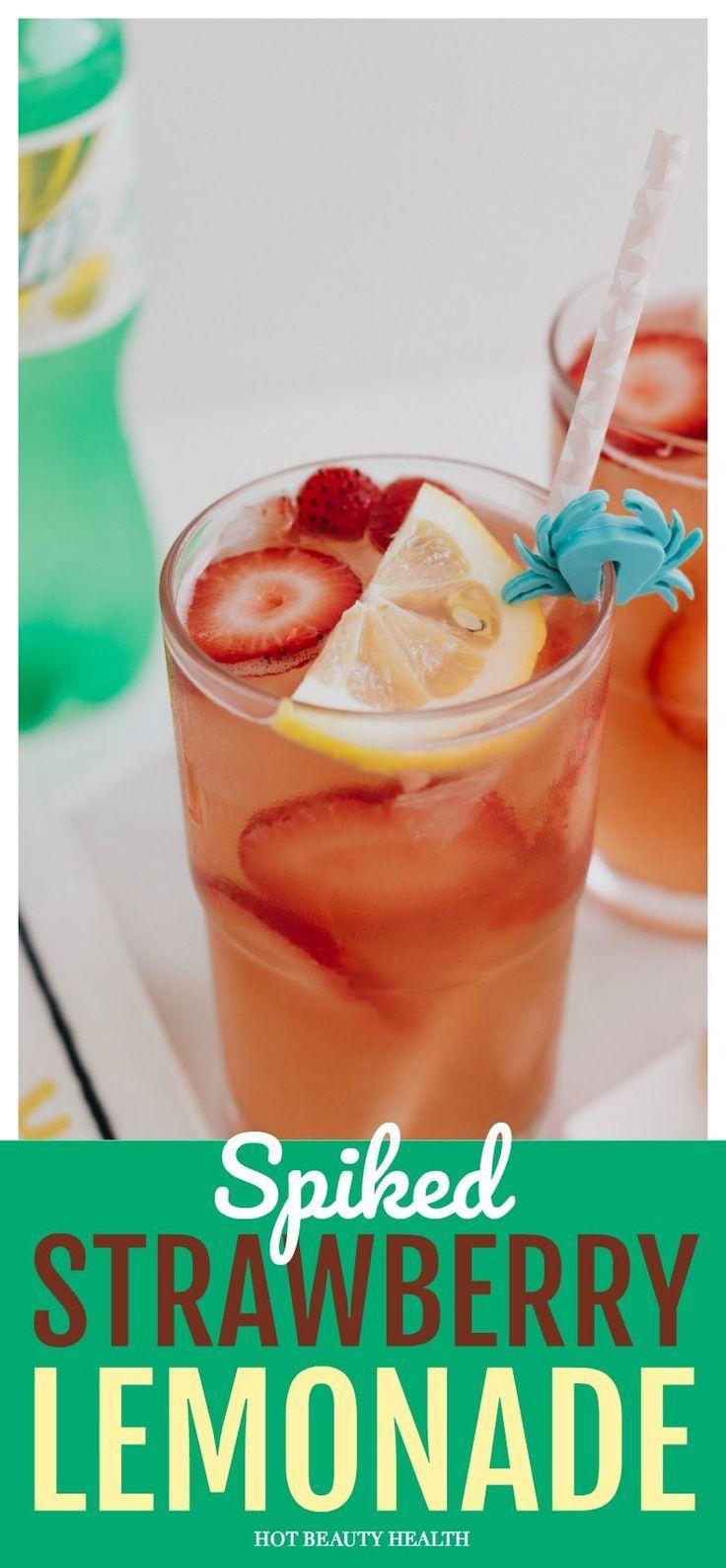 A Delicious & Refreshing Spiked Strawberry Lemonade Recipe #lemonadepunch