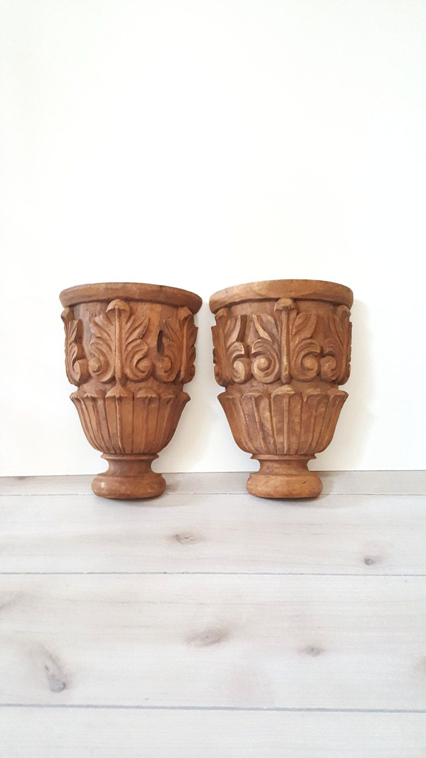Antique Large Pair Wood Hand Carved Wall Shelf Wall