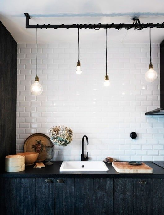 Curtain Rod Attached To The Ceiling With Bulbs Hanging From It On Wires Cuuttee Black Kitchen Faucets Basement Lighting Kitchen Inspirations