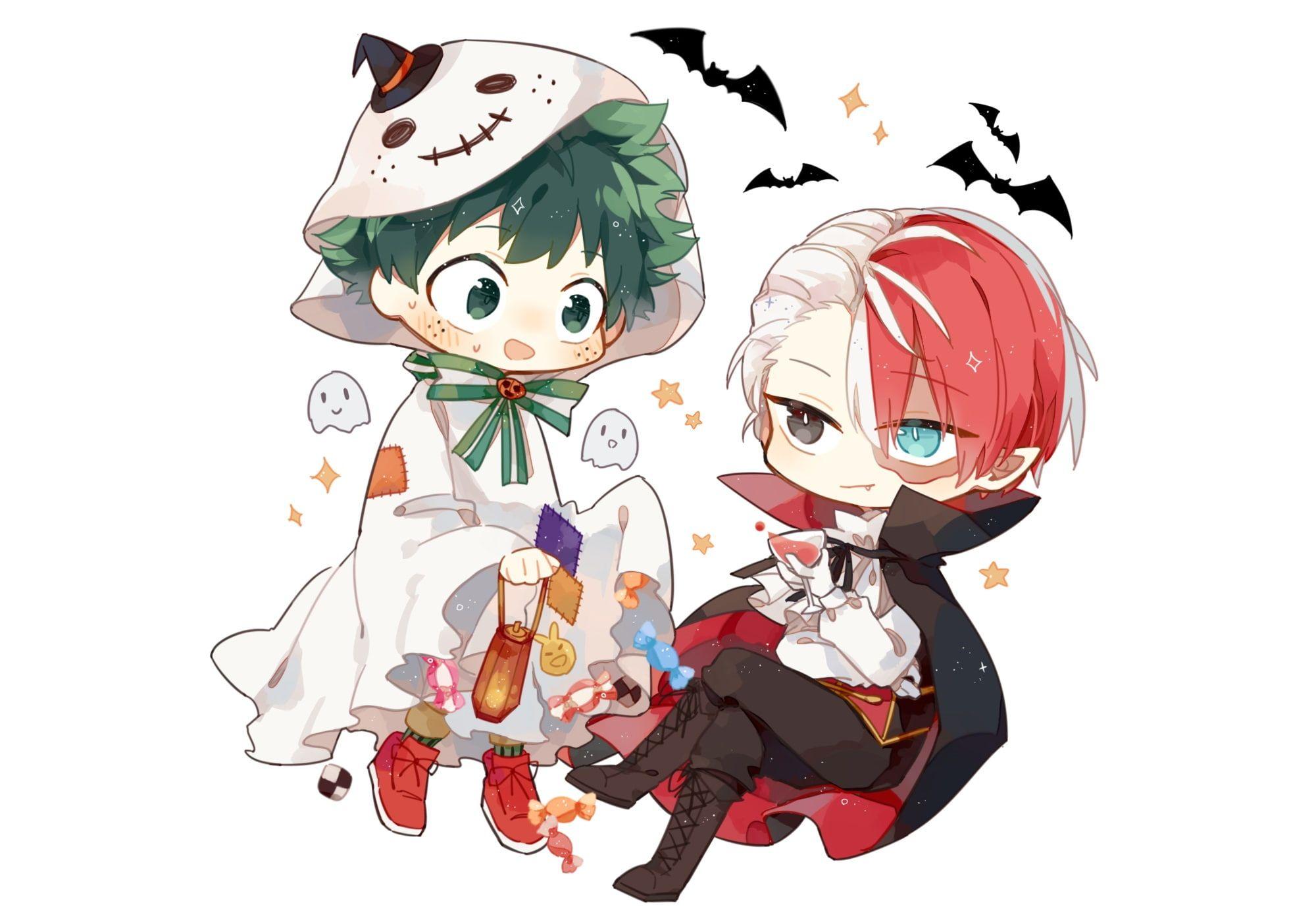 Anime My Hero Academia Halloween Izuku Midoriya Shouto Todoroki 1080p Wallpaper Hdwallpaper Desktop Anime Wallpaper Anime My Hero