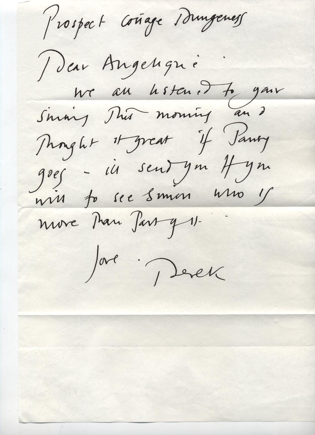 Letter from Derek Jarman to Angelique Rockas filmpart in Pansy