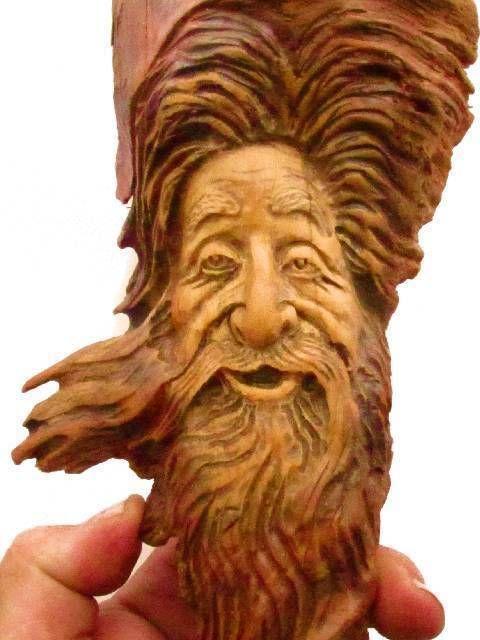 Wood carving spirit log home gnome art sculpture hobbit