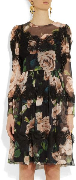 Dolce & Gabbana Floral Print Silkblend Dress in Floral - Lyst