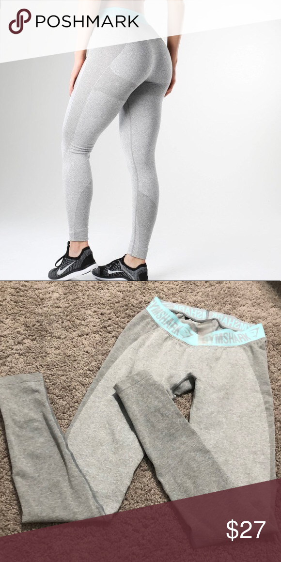 9b82bb1eacf2f Gymshark leggings Gymshark flex leggings. Light grey and light blue. Size  medium. Reposhing because I prefer high waisted leggings. Very comfy!