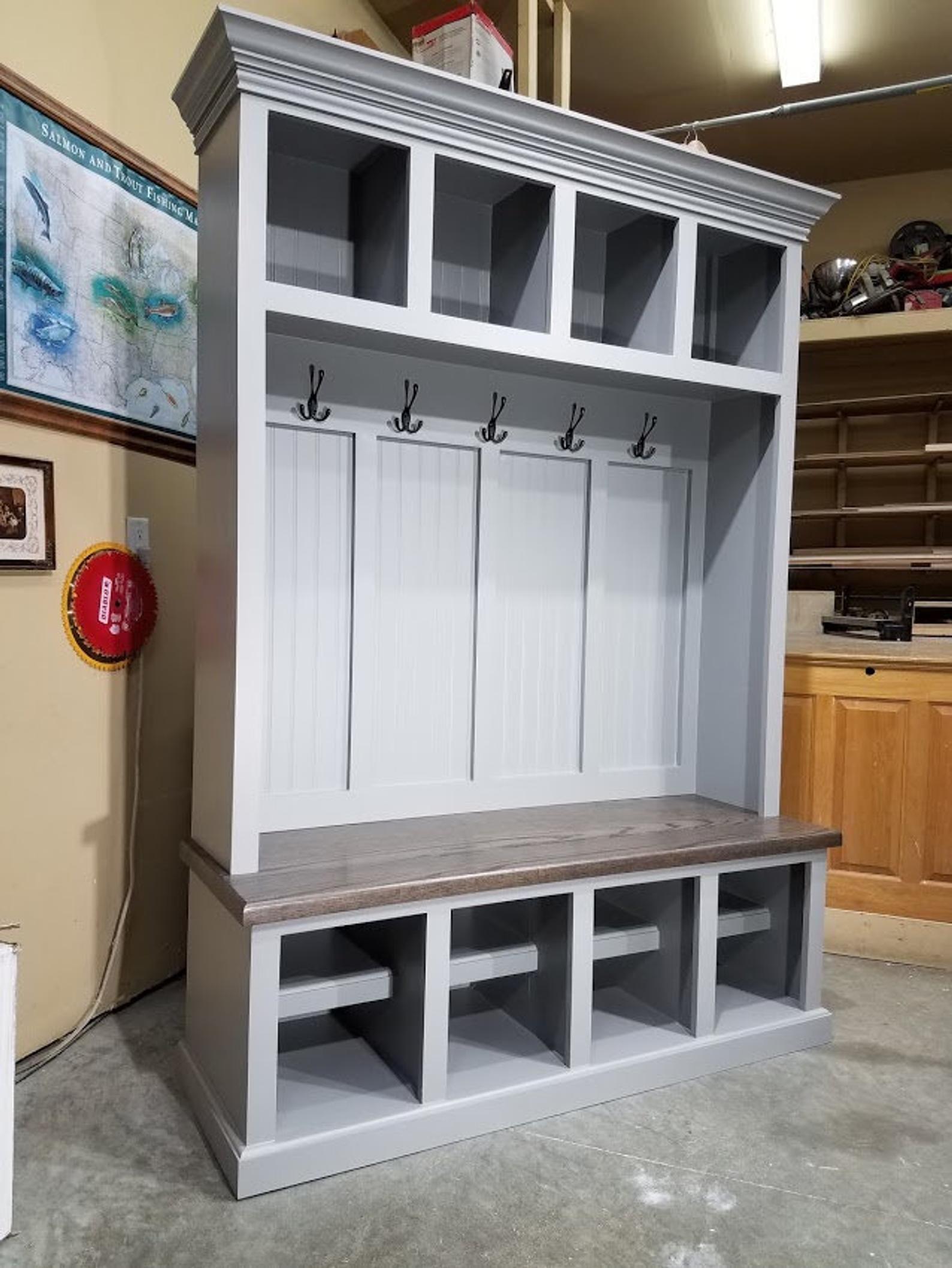 mudroom lockers bench storage furniture cubbies hall tree