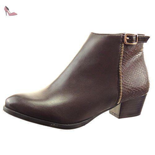 44b22c02e448 Sopily - Chaussure Mode Bottine Cavalier Low boots Cheville femmes Peau de  serpent boucle Fermeture Zip