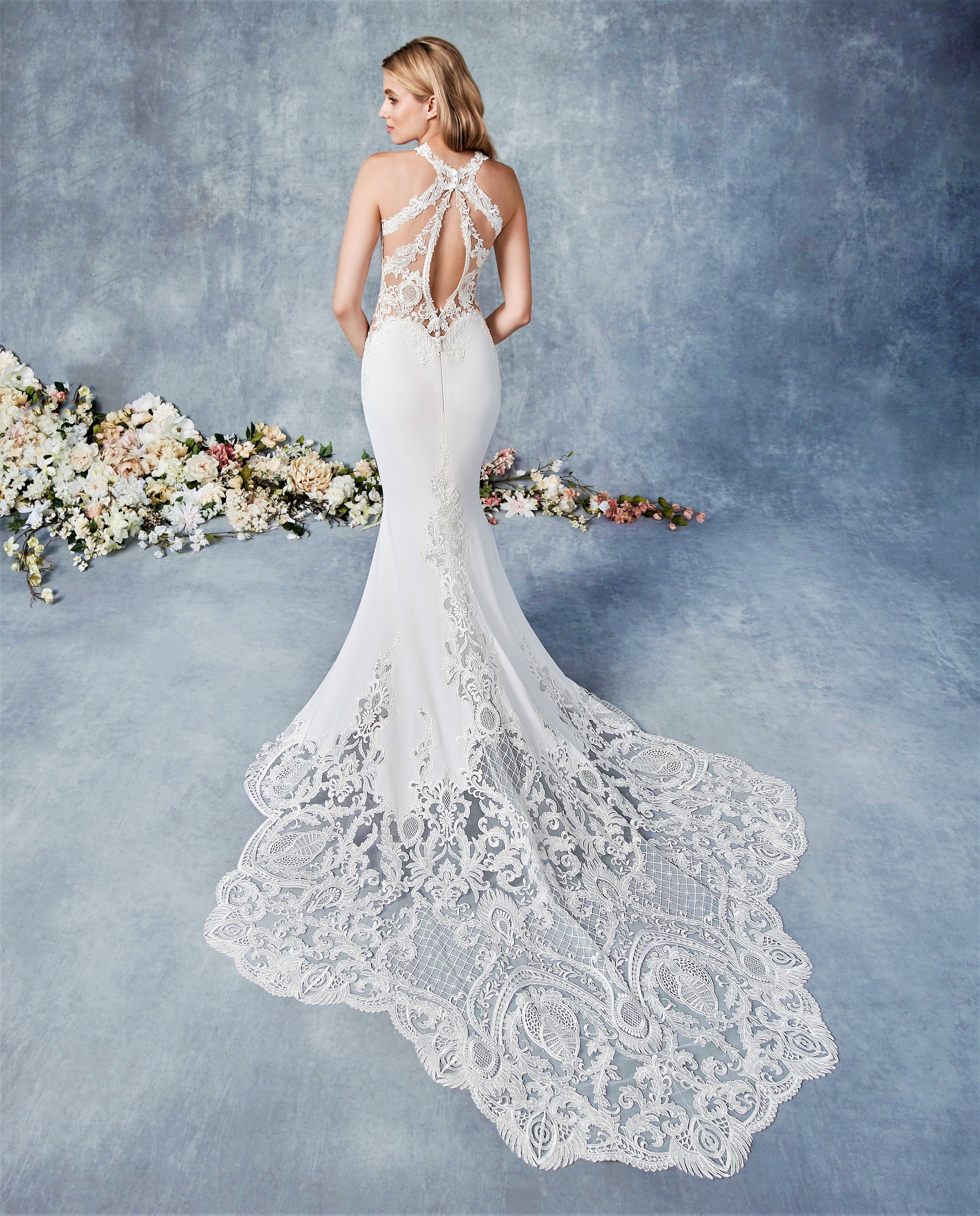 Detailed back wedding dress with lace train in 2020