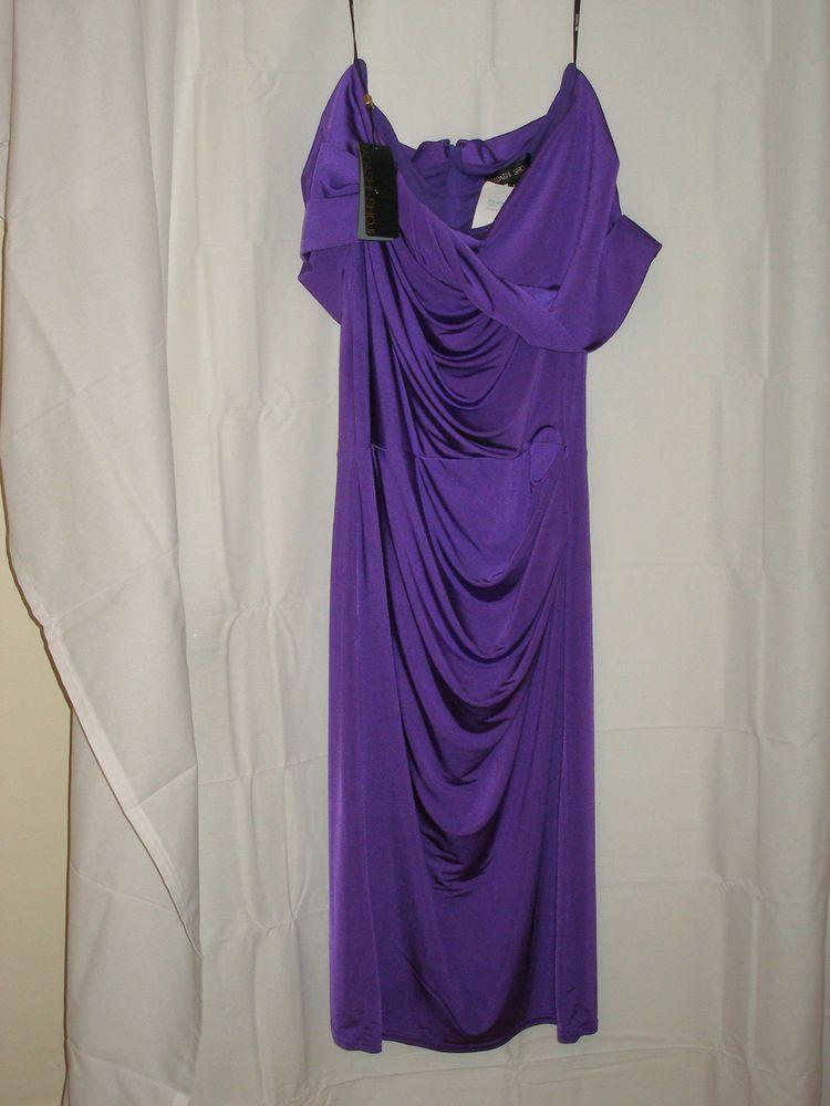 Tadashi Shoji Purple off the shoulder size medium cocktail dress NWT ...