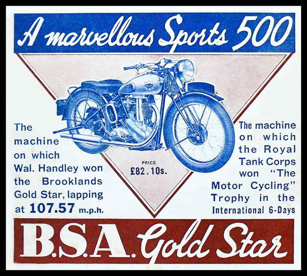 1938 Bsa Gold Star Performance Vintage Motorcycle Posters Motorcycle Posters Bike Poster