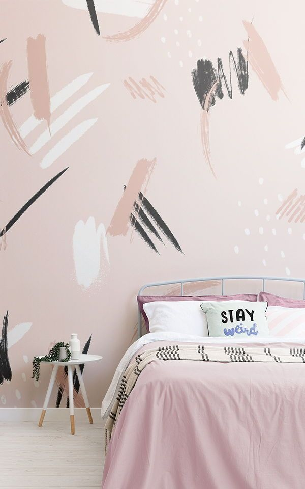 Papier Peint Abstraction Coups De Pinceau Pêche Et Noir | Murals Wallpaper In 2021 | Feature Wall Bedroom, Girls Bedroom Wallpaper, Girls Room Wallpaper