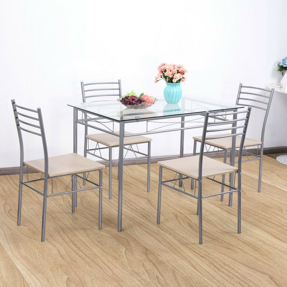 5 Pcs Dining Table Glass 4 Chairs Furniture Tempered Glass