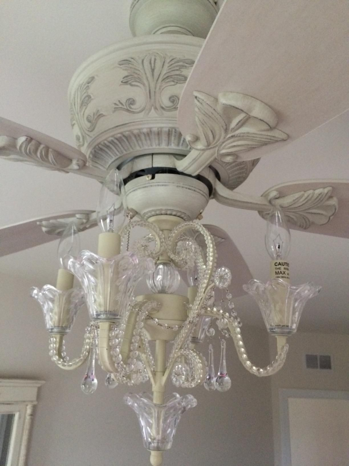 Charming Amazon.com: Crystal Bead Candelabra Antique White Ceiling Fan Light Kit:  Home Improvement