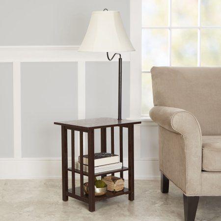 Better Homes Gardens 3 Rack End Table Floor Lamp Espresso Finish Walmart Com Floor Lamp Table Lamps Living Room Furniture Design Table