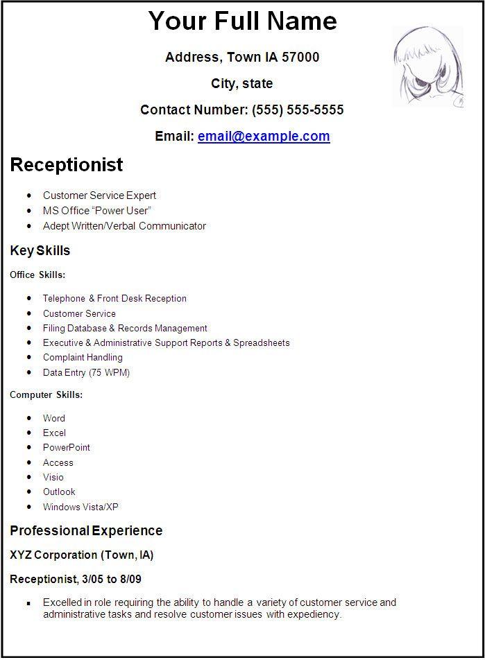 Free Resume Template Receptionist