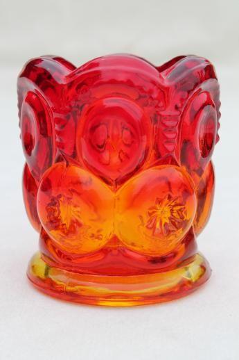 Amberina Glass Toothpick Holder Vase Vintage Moon Toothpick