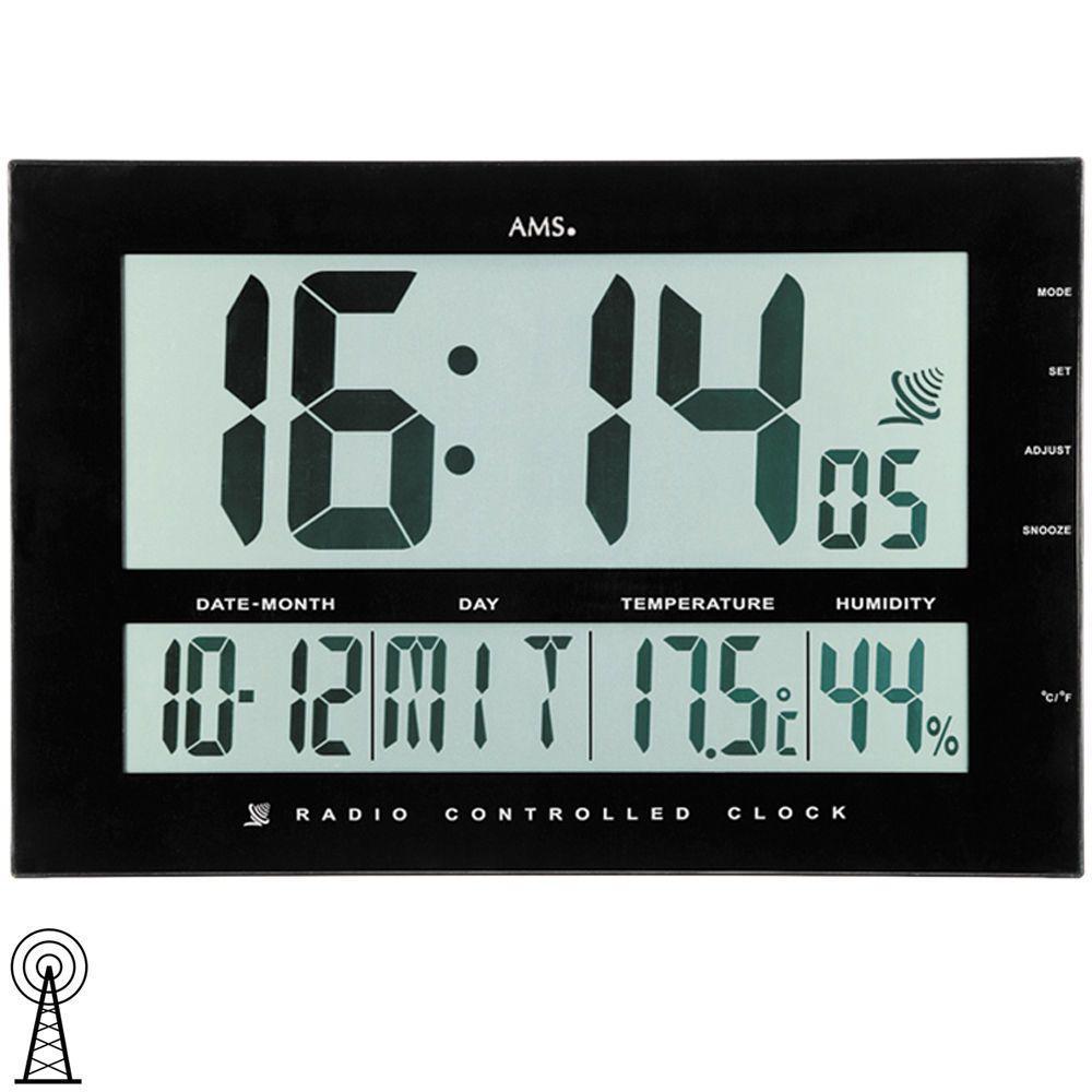 AMS Tischuhr 5895 Wanduhr Funk Anzeige Zeit Datum
