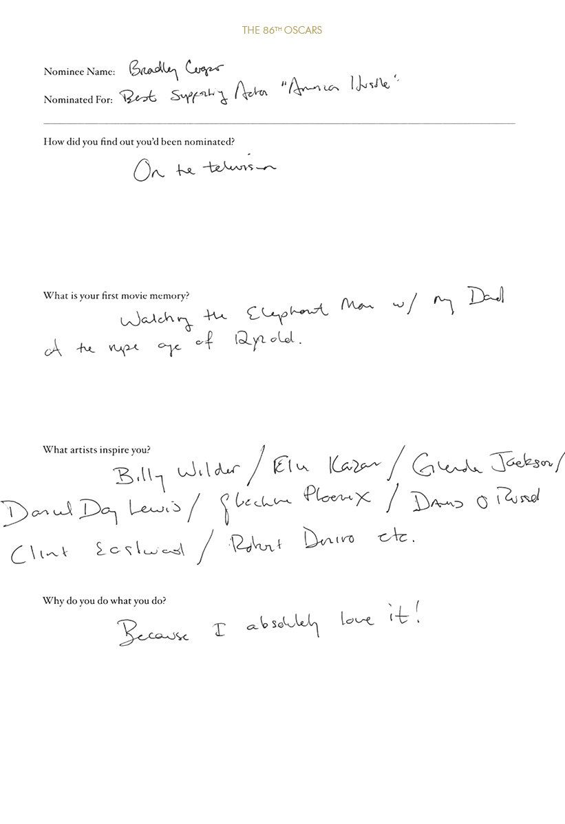 Bradley Cooper  Oscar Nominee Questionnaire In His Own