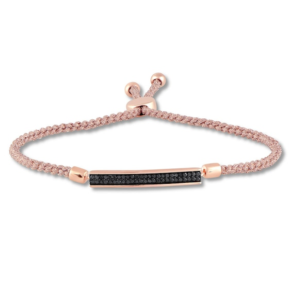 Black Diamond Bolo Bracelet 1 4 Ct Tw 10k Rose Gold Blush Cord Black Diamond Rose Gold Black Bracelets