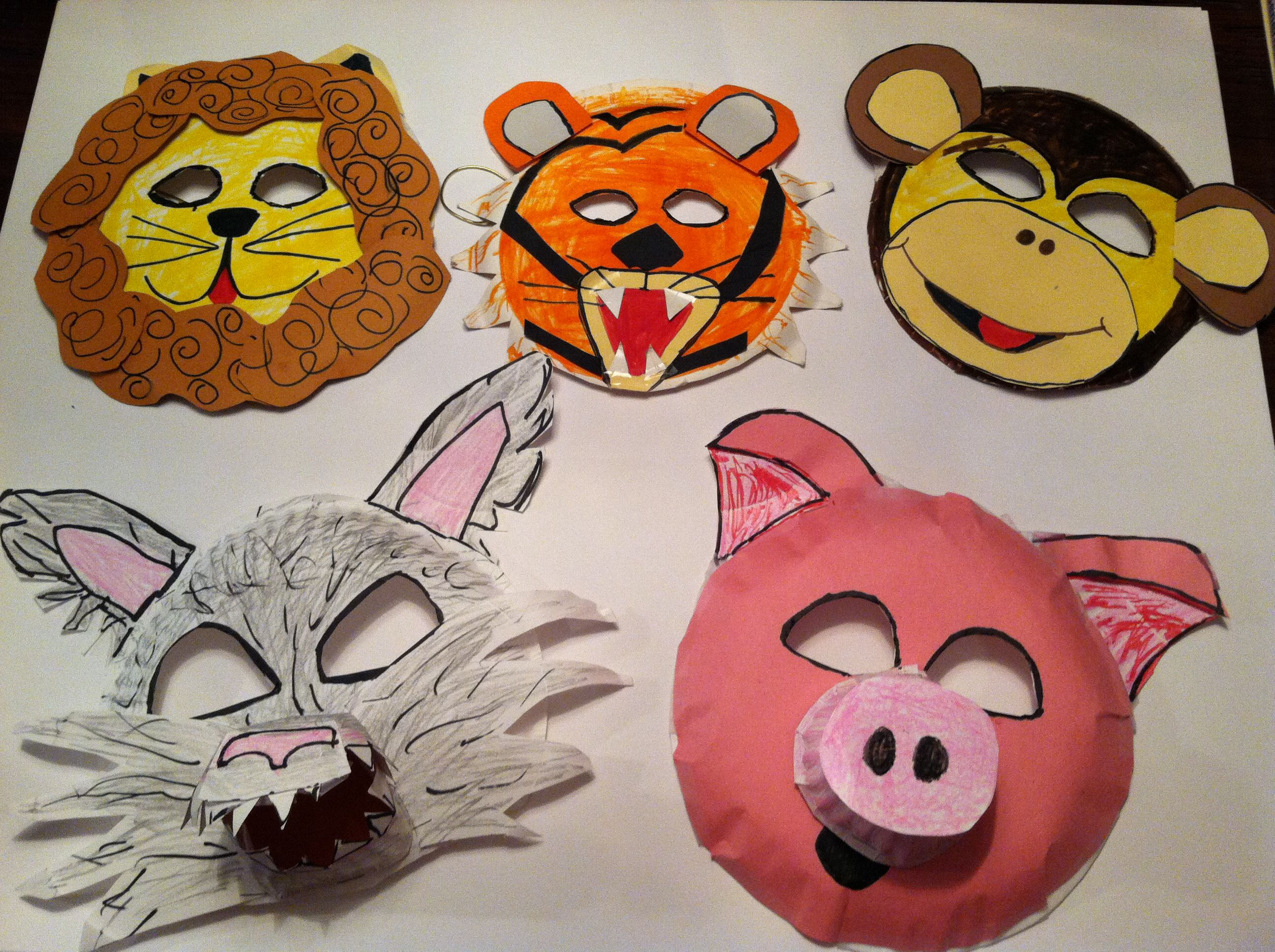 Paper plate animal crafts - Paper Plate Masks
