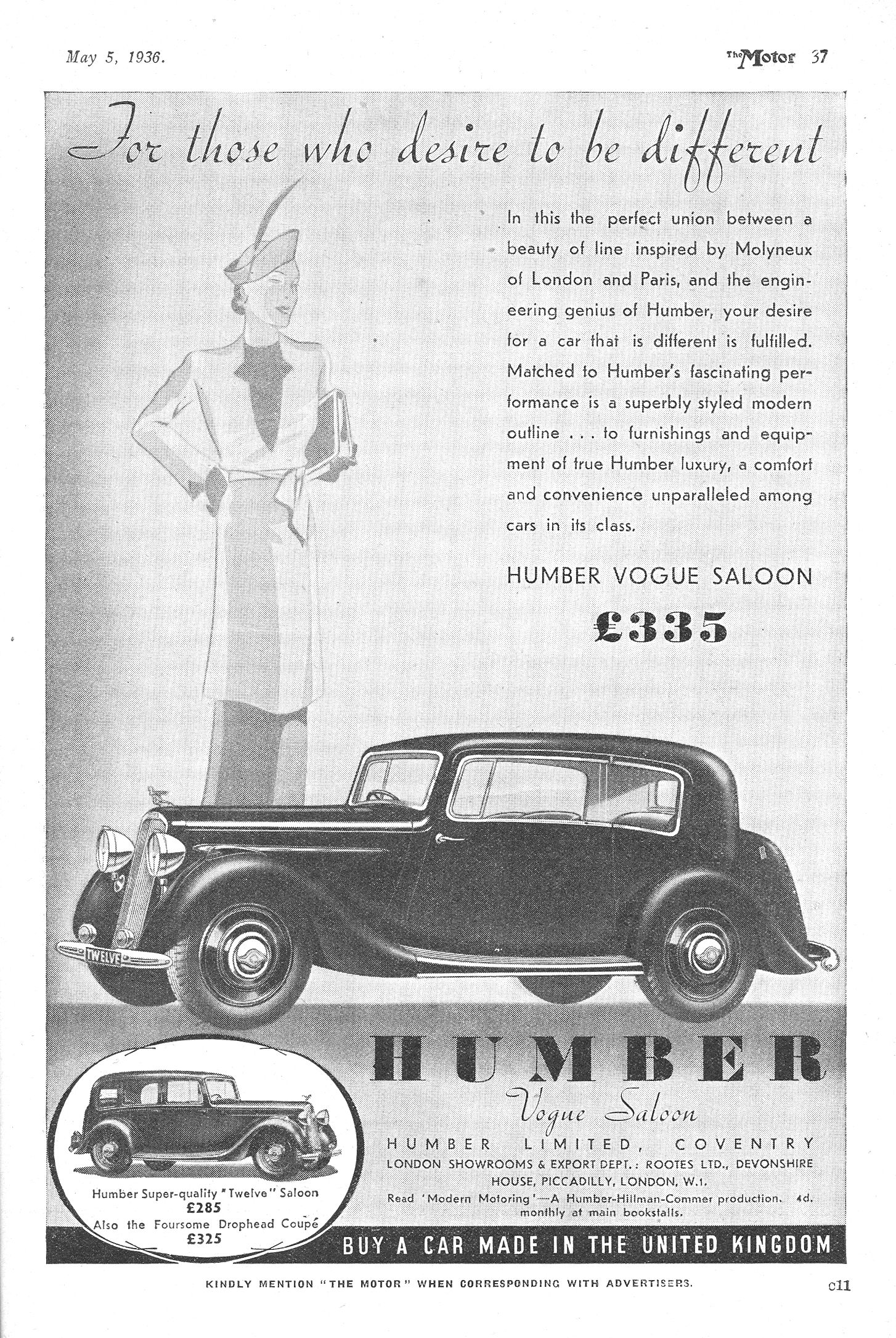 Humber vogue Autocar Motor Advert 1936 - For those who desire to be ...