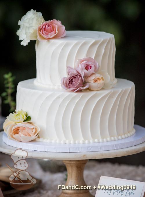 Design W 0949 Butter Cream Wedding Cake 10 6 Serves 50 Vertical Curve Stripe Texture F Wedding Cake Servings Cream Wedding Cakes Wedding Cake Prices