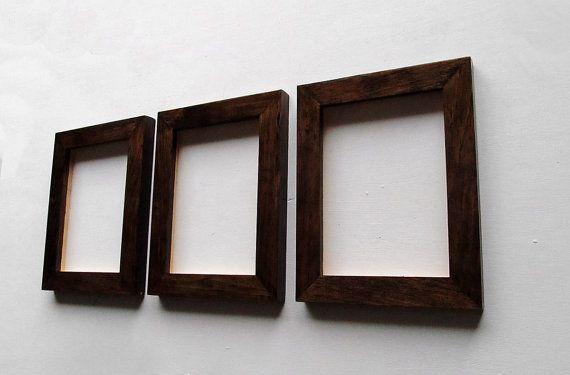 3 Dark Walnut Frames Set Of Three 5x7 Natural Wood Dark Walnut Stain High Gloss Finish Gorgeous Frames Dark Walnut Frame Dark Walnut Stain Frame Set