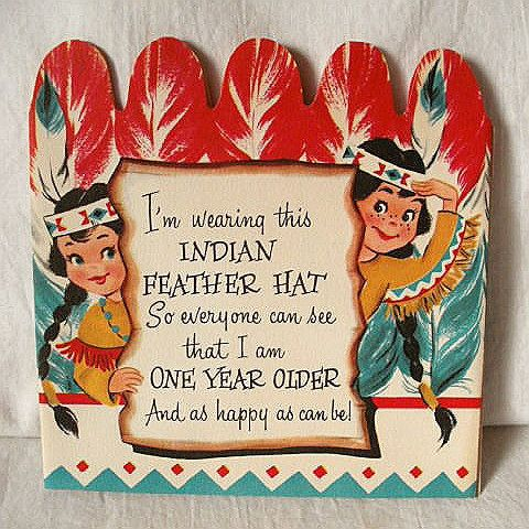 Vintage Native American Indian Cartoon Theme Birthday Card For Child
