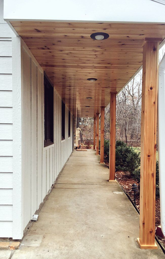 Cedar t g soffit and cedar wrapped posts all pre finished for Cypress porch columns